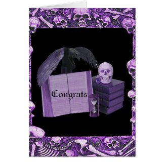 Purple Romance Skull Spellbook Wedding Card