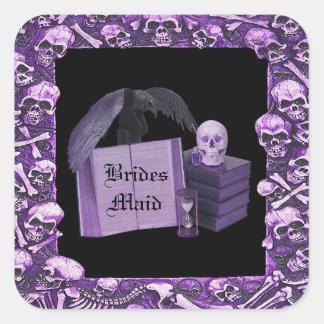 Purple Romance Skull Spellbook Wedding Square Sticker