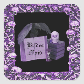 Purple Romance Skull Spellbook Wedding Square Sticker