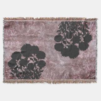 Purple Romantic Mum Flowers in Silhouette Throw Blanket