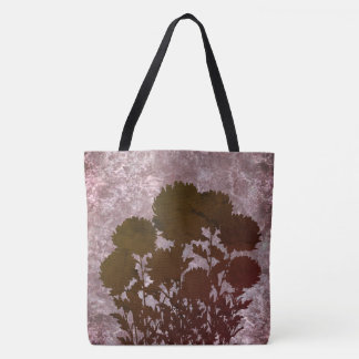 Purple Romantic Mum Flowers in Silhouette Tote Bag