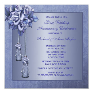 Purple Rose 25th Wedding Anniversary Party 13 Cm X 13 Cm Square Invitation Card