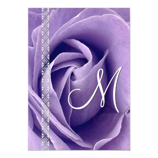 PURPLE Rose and Lace Wedding Template G900 Card