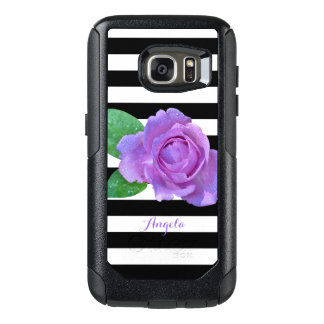 Purple Rose, Black, White Stripes Personalized OtterBox Samsung Galaxy S7 Case
