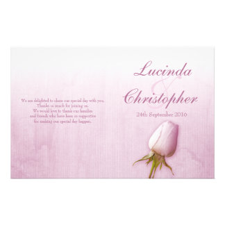Purple rose bud lilac wedding programme