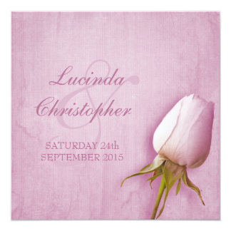 Purple rose bud lilac wedding square invitation