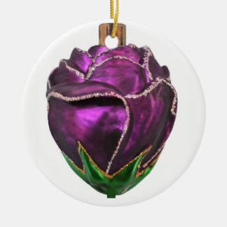 Purple Rose Christmas Ornament