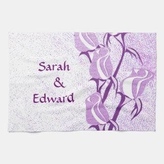 Purple Rose Couple Personalized Tea Towel