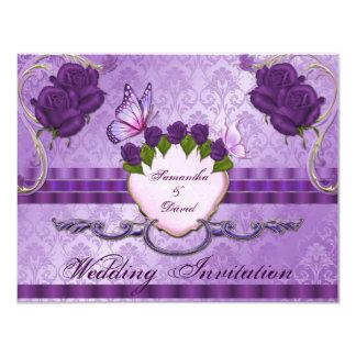 Purple Rose Damask Wedding Invitation Card