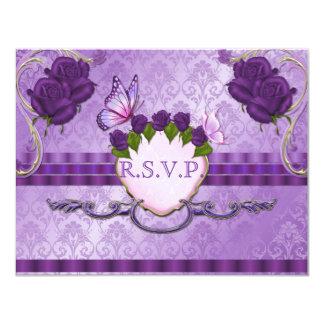 Purple Rose Damask Wedding RSVP Card 11 Cm X 14 Cm Invitation Card