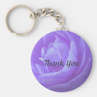 purple rose flower basic round button key ring