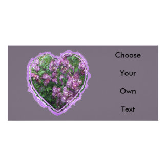 Purple Rose Heart Photo Cards