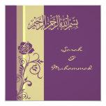 Purple rose Islamic wedding invitation katb kitab
