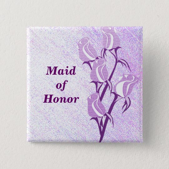 Purple Rose Maid of Honour Button Pin