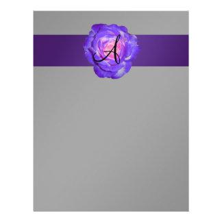 Purple rose monogram 21.5 cm x 28 cm flyer
