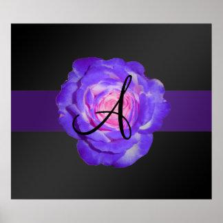 Purple rose monogram posters