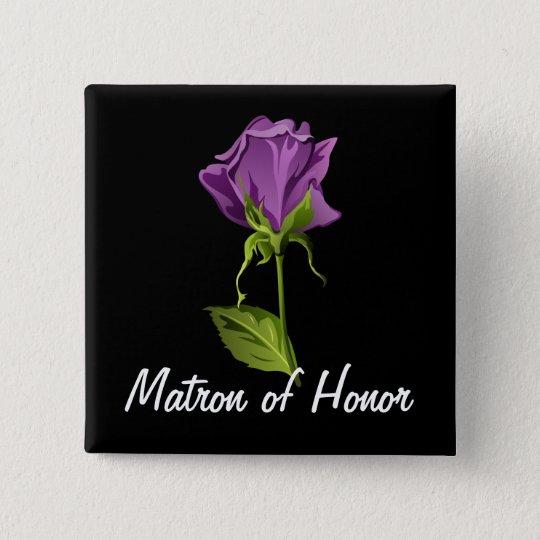 Purple Rose on Black 15 Cm Square Badge