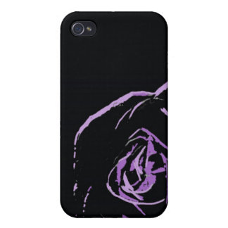 purple rose on black  cases for iPhone 4