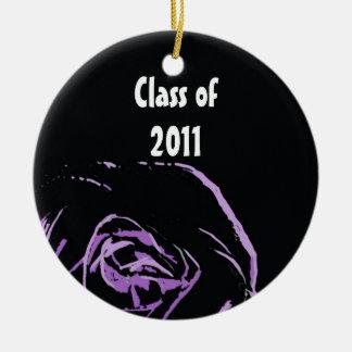 purple rose on black ornament