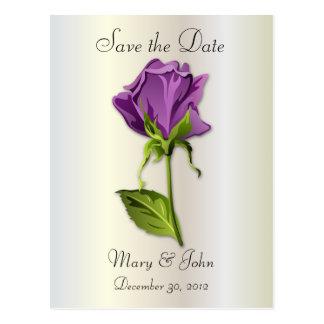Purple Rose on Silver Postcard