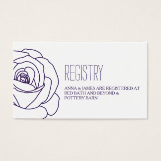 Purple Rose Outline Wedding Registry Card