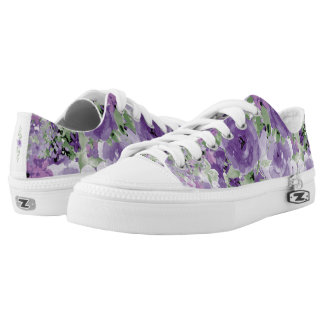 Purple Rose Pattern, Pretty Floral Watercolor Printed Shoes