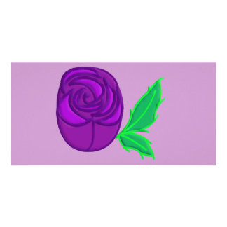 Purple rose personalized photo card