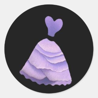 Purple Rose Petal Bridesmaid Dress - Heart Bodice Round Sticker