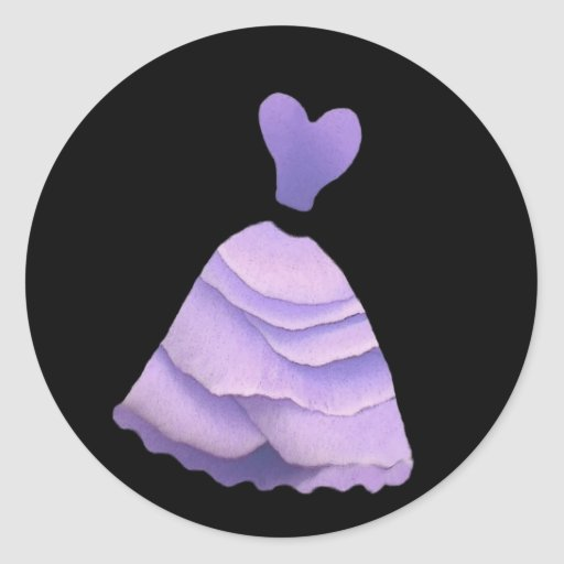 Purple Rose Petal Bridesmaid Dress - Heart Bodice Stickers