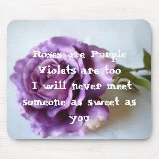 Purple Rose Poem Mouse Mats