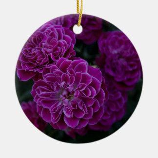 Purple Rose Round Ceramic Decoration