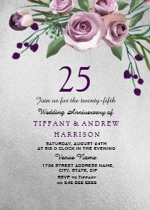 Purple Rose Silver 25th Wedding Anniversary Invite