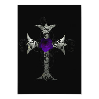 Purple Rose  Silver Cross Gothic Bridal Shower Inv 13 Cm X 18 Cm Invitation Card