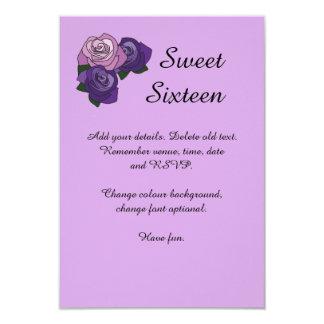Purple Rose Sweet Sixteen Birthday Party Invite