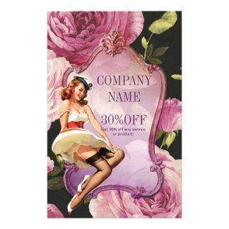 purple rose vintage girly makeup artist flyer