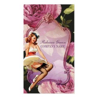 purple rose vintage girly makeup artist pack of standard business cards