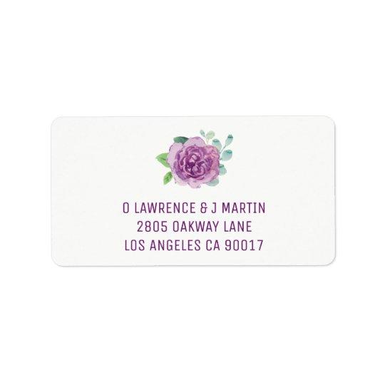 Purple Rose Watercolor Label