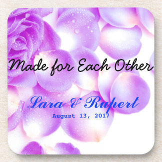 Purple Rose Wedding Coasters for Newly Wed Couples