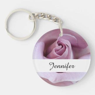 Purple Rose Wedding Photo Double-Sided Round Acrylic Key Ring