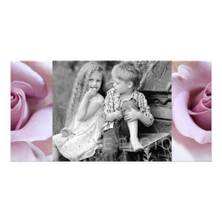 Purple Rose Wedding Photo Photo Greeting Card