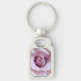 Purple Rose Wedding Photo Silver-Colored Rectangle Key Ring