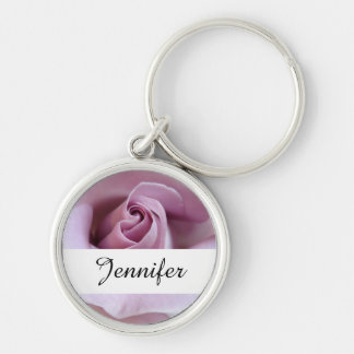 Purple Rose Wedding Photo Silver-Colored Round Key Ring