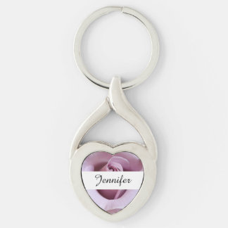 Purple Rose Wedding Photo Silver-Colored Twisted Heart Key Ring