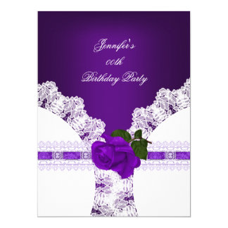 Purple Rose White Lace Birthday Party 17 Cm X 22 Cm Invitation Card