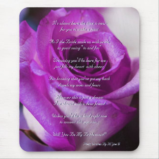 Purple Rose Will You Be My Bridesmaid Mouse Pad