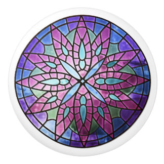 Purple Rose Window Ceramic Knob
