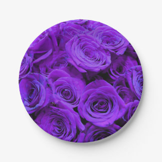 Purple Roses 7 Inch Paper Plate