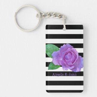 Purple Roses, Black, White Stripes Personalized Double-Sided Rectangular Acrylic Key Ring