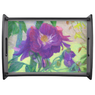 Purple Roses in the Shade Serving Tray