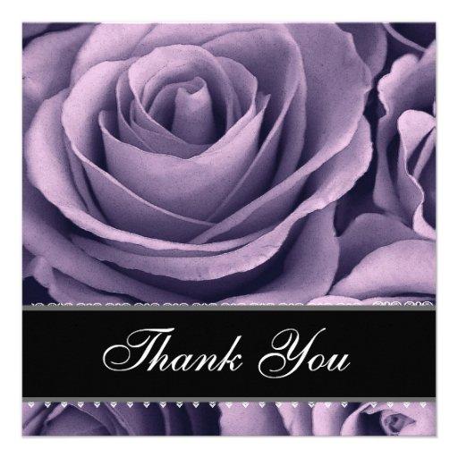 Purple Roses Lace Ribbon Wedding Thank You Card Custom Invites